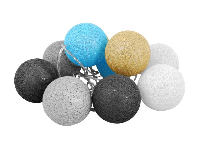 Kule Led Cotton Balls 3000k 30m Biało Szaro Niebieskie